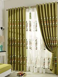 Недорогие -два страны curtains® панели зеленый кофе лоза цветочные листьев белье шторы портьеры