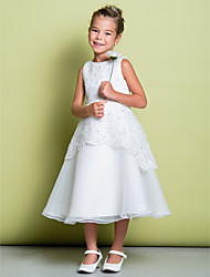 A-Line Tea Length Flower Girl Dress - Organza Sleeveless Scoop Neck by LAN TING BRIDE®