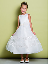 cheap -A-Line Ankle Length Flower Girl Dress - Lace Sleeveless Jewel Neck by LAN TING BRIDE®