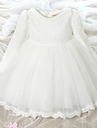 cheap -A-Line Knee Length Flower Girl Dress - Lace Tulle Long Sleeves Jewel Neck with Bow(s) by