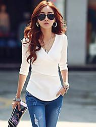 Tee-shirt Femme,Couleur Pleine Décontracté / Quotidien simple Chic de Rue Automne ½ Manches Col en V Rouge Blanc Noir Gris Coton Opaque