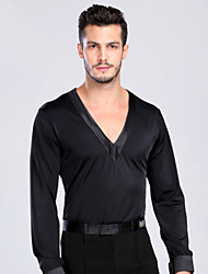 cheap -Latin Dance Tops Men's Performance Training Spandex Buttons Long Sleeve Top