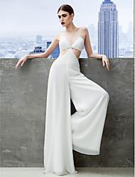 baratos -Tubinho Macacão Com Alças Finas Longo Chiffon Baile de Formatura / Evento Formal Vestido com Pregas de TS Couture®