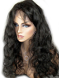 cheap -unprocessed 10 24 virgin brazilian hair natural color body wave 130 density full lace wig lace front wig