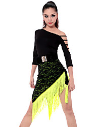 cheap -Latin Dance Outfits Women's Performance Rayon Polyester Tassel Top Skirt