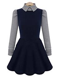 cheap -Fashion Plus Sizes Women's Turtleneck Long Sleeve Knitting Stitching Slim High Waist Dress