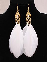 Women's Drop Earrings European Costume Jewelry Jewelry Alloy Feather Jewelry For