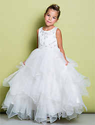 A-Line Floor Length Flower Girl Dress - Organza Satin Sleeveless Jewel Neck with Beading by LAN TING BRIDE®