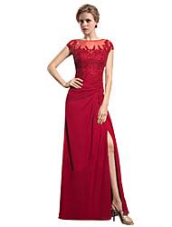 economico -A tubino Con decorazione gioiello Lungo Chiffon Abito da cerimonia per signora - Con applique di LAN TING BRIDE®