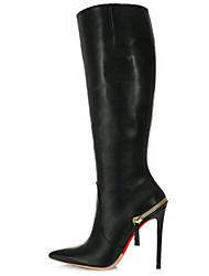 baratos -Calçados Femininos - Botas - Bico Fino / Botas da Moda - Salto Agulha - Preto - Courino -Casamento / Escritório & Trabalho / Festas &