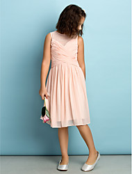 A-Line Jewel Neck Knee Length Chiffon Junior Bridesmaid Dress with Criss Cross by LAN TING BRIDE®