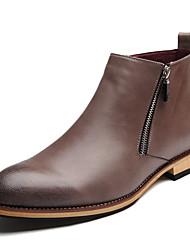 Muškarci Cipele Umjetna koža Zima Jesen Udobne cipele Čizme 5.08 cm-10.16 cm Čizme do pola lista Patent-zatvarač za Kauzalni Crn Sive