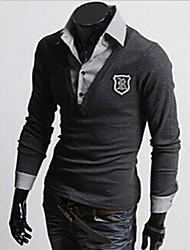 cheap -Men's Shirt Collar Tops & Blouses , Cotton Blend Long Sleeve Casual Fashion Fall tuan