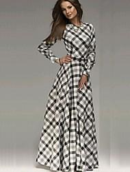 baratos -Mulheres Sofisticado Algodão Bainha / balanço Vestido Quadriculada Longo / Primavera / Outono / Inverno