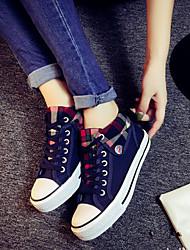 povoljno -Žene Cipele Platno Proljeće Ljeto Jesen Udobne cipele Ravna potpetica Vezanje za Kauzalni Vanjski Crn Crvena Plava