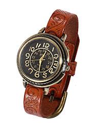 baratos -Mulheres Relógio de Pulso Relógio Casual Couro Banda Amuleto / Fashion Preta