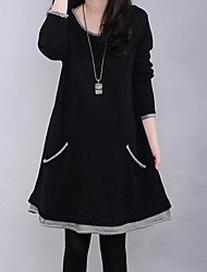 cheap -Women's Patchwork Black / Navy Blue Dress , Casual / Party / Plus Sizes Fleece Lining Loose Slim Long Sleeve Cotton