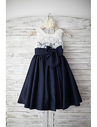cheap -A-Line Knee Length Flower Girl Dress - Lace Taffeta Sleeveless Square Neck with Bow(s) Buttons Sash / Ribbon by LAN TING Express