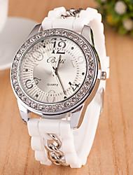 cheap -Women's Wrist Watch Hot Sale Silicone Band Charm / Casual / Fashion Black / White / Blue