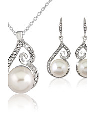 Women's Silver Imitation Pearl Wedding Party Jewelry include Necklace & Earrings