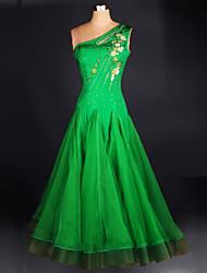 abordables -Danse de Salon Robes Femme Utilisation Chinlon / Crêpe Cristaux / Stras Sans Manches Robe / Danse moderne / Spectacle