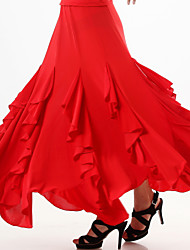 Ballroom Dance Skirts Women's Performance / Training Milk Fiber Draped / Ruffles 1 Piece Black / Red / Royal Blue