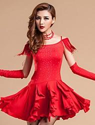 Danse latine Robes Femme Spectacle Rayonne Fibre de Lait 1 Pièce Robe