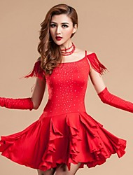 cheap -Latin Dance Dresses Women's Performance Rayon Milk Fiber Crystals/Rhinestones 1 Piece Dress