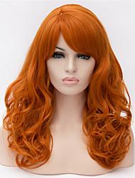 billige -Syntetiske parykker Krøllet Gyldent Assymetrisk frisure Syntetisk hår Natural Hairline Gyldent Paryk Dame Lang Lågløs Brun