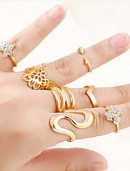 Anéis Fashion Pesta Jóias Feminino Anéis Meio Dedo 1conjunto,Tamanho Único Dourado