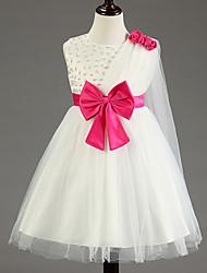 Vestido feminino de princesa vestido de flor com joelho - colar de algodão sem algodão de algodão sem mangas
