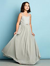 preiswerte -A-Linie V-Ausschnitt Boden-Länge Chiffon Junior-Brautjungferkleid mit Kristall Verzierung durch LAN TING BRIDE®