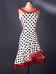 economico -Balli latino-americani Vestiti Per donna Addestramento / Prestazioni Elastene Con ruche / Cristalli / Strass Senza maniche Abito / Samba