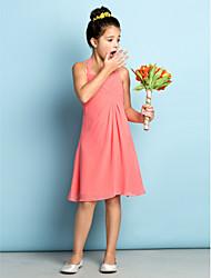 A-Line Halter Knee Length Chiffon Junior Bridesmaid Dress with Criss Cross by LAN TING BRIDE®