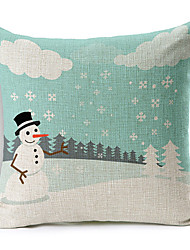 Snowman Style Merry Christmas Cotton/Linen Decorative Pillow Cover