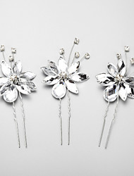 legering / rhinestone hårnåle bryllup / fest 3stk elegant stil