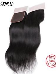 Недорогие -14 Натуральный чёрный (#1В) Прямые Человеческие волосы закрытие Умеренно-коричневый Швейцарское кружево 36g грамм Размер крышки