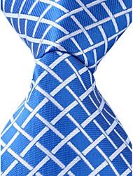 cheap -Grid Pattern Blue Necktie Men Business Leisure Tie Jacquard