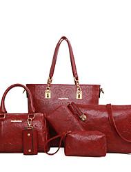 Donna Sacchetti PU (Poliuretano) Astuccio per trucchi Set di borsa da 6 pezzi per Shopping Per tutte le stagioni Nero Marrone Rosso Blu