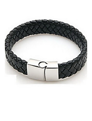 cheap -Men's Plaited Bracelet Bangles / Leather Bracelet - Leather Classic, Basic, Hip-Hop Bracelet Black For Party / Daily / Casual