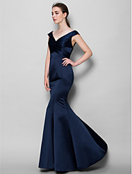 cheap -Mermaid / Trumpet V-neck Floor Length Satin Bridesmaid Dress with Criss Cross by LAN TING BRIDE®