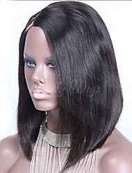 "Unprocessed 8""-16"" Brazilian Virgin Hair Natural Black Silky Straight U Part Bob Wig 1""X4"" Right Side Part Bob Wigs"