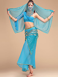 Belly Dance Outfits Women's Performance Chiffon / Chinlon Sequins 5 Pieces 6 Colors