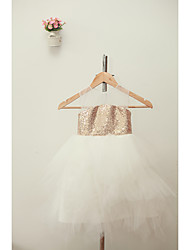cheap -A-Line Knee Length Flower Girl Dress - Tulle Jewel Neck with Flower by