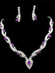 cheap -Lucky Doll 925 Silver Plated Gemstone & Crystal Zirconia geometry Heart Tassel Necklace & Earrings Jewelry Sets