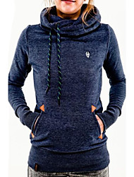 cheap -Women's Solid Blue / Pink / Black / Green / Gray Hoodies , Casual Stand Long Sleeve