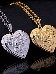 cheap -InStyle New Vintage Rose Flower Heart Photo Locket Pendant Floating Lockets 18K Gold Platinum Plated Necklace