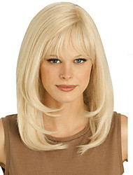 cheap -Blonde Long High Quality Natural Straight Hair Synthetic Wig with Free Bang