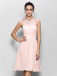 cheap -A-Line Jewel Neck Knee Length Georgette Bridesmaid Dress with Sash / Ribbon Pleats by LAN TING BRIDE®