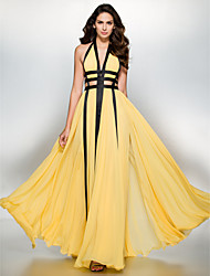 cheap -A-Line Plunging Neck Floor Length Chiffon Color Block / Cut Out Prom / Formal Evening Dress with Split Front by TS Couture®